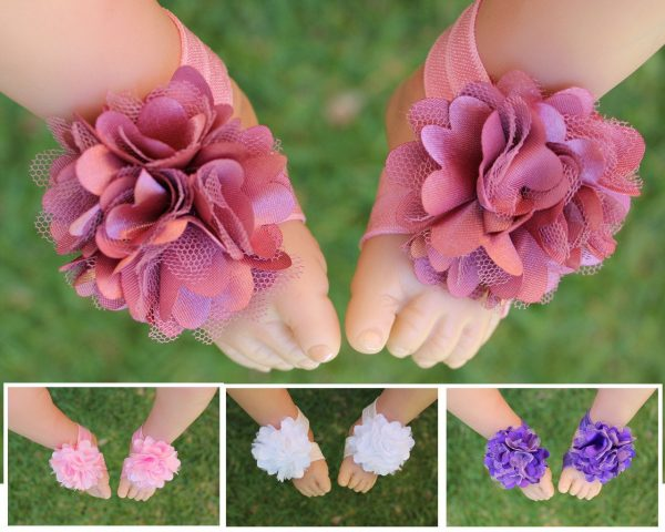Baby Barefoot Sandals Foot Flower Girl Shoes Footwear Photo Prop Free Postage
