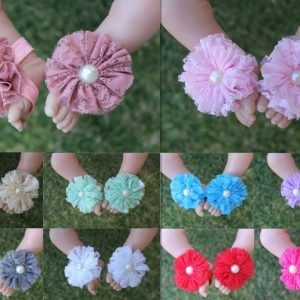 Baby Barefoot Sandals Girl Flower Shoes Newborn Infant Christening Party Christmas Photo Prop