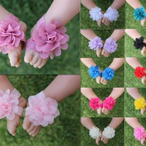 Baby Barefoot Sandals Newborn Girl Foot Flower Shoes Footwear Free Postage A49