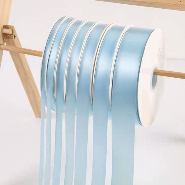 Baby Blue Satin Ribbon Roll Wholesale • Christmas Gift Wrapping Shower Party Favors Chair Decorations Tags Box Ribbons
