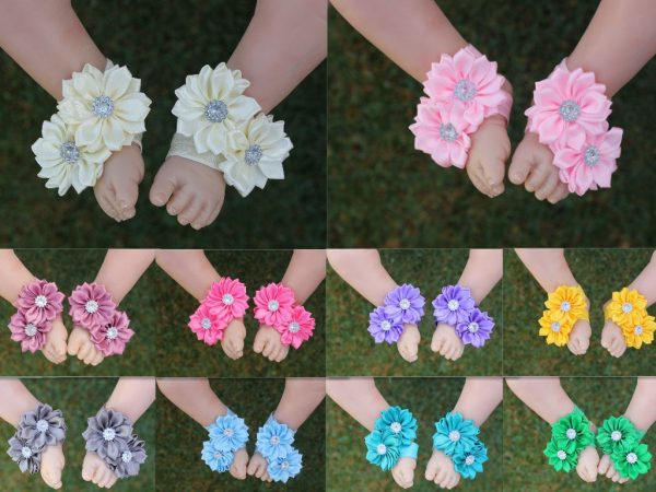 Baby Girl Barefoot Sandals Foot Flower Shoes Band Footwear Photo Prop Free Postage