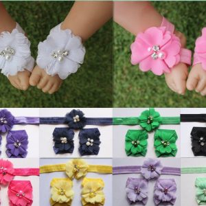 Baby Girl Barefoot Sandals Foot Flower Shoes & Headband Photo Prop Free Postage