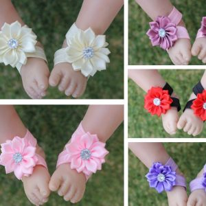 Baby Girl Barefoot Sandals Handmade Daisy Flower Shoes Footwear Photo Prop Free Postage