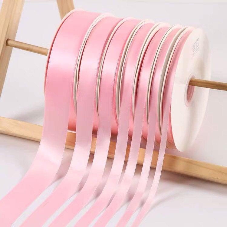 Baby Pink Satin Ribbon Roll Wholesale • Christmas Gift Wrapping Shower Party Favors Chair Decorations Tags Box Ribbons