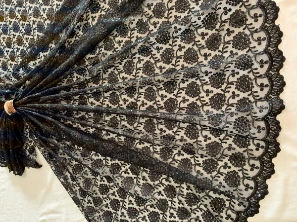 Black Floral Embroidered Tulle Fabric, Silken Thread Sequins Scallop Edge Material, Traditional Style Dress , Veil, Sewing Fabric