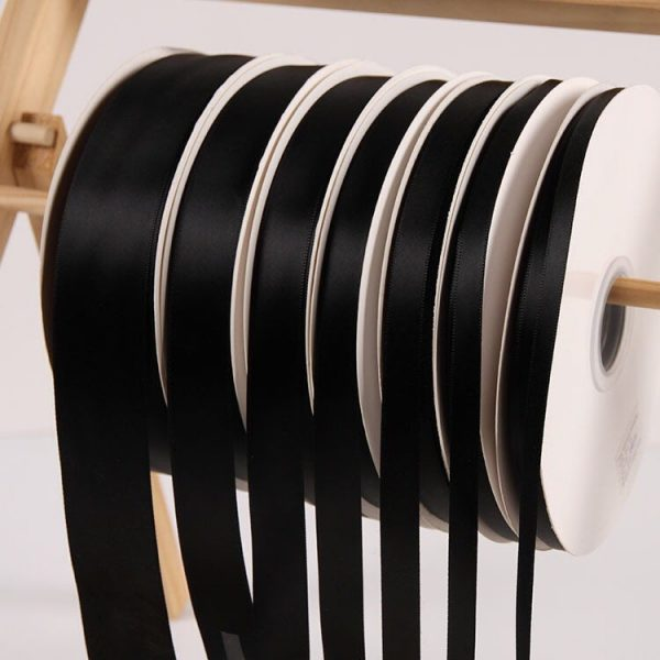 Black Satin Ribbon Roll Wholesale • Christmas Gift Wrapping Wedding Party Favors Chair Decorations Tags Box Ribbons