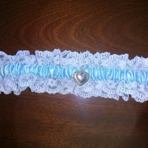 Bridal Garter - Blue Ribbon & White Lace With Heart Charm. Blue Wedding