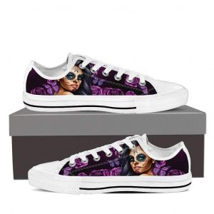 Calavara Girl Women's Low Top Canvas Shoes, Best Sugar Skulls Converse Items, Tattoo Shoes For Her