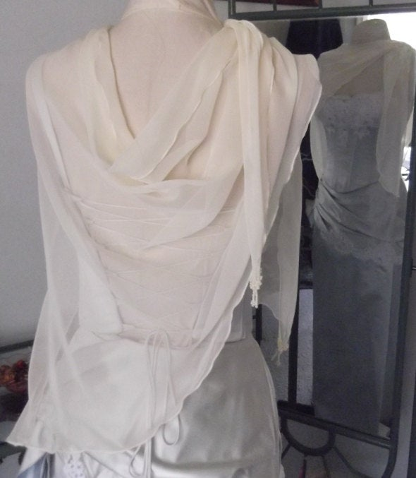 Chiffon Wrap Drape With Beaded Points, Available in White, Ivory, Cream Or Black