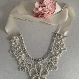 Couture Vintage Wedding Lace Pearl Rhinestone Crystal Flower Necklace Collar| | Art Deco Epaulettes Shoulder Body Jewellery Shawl