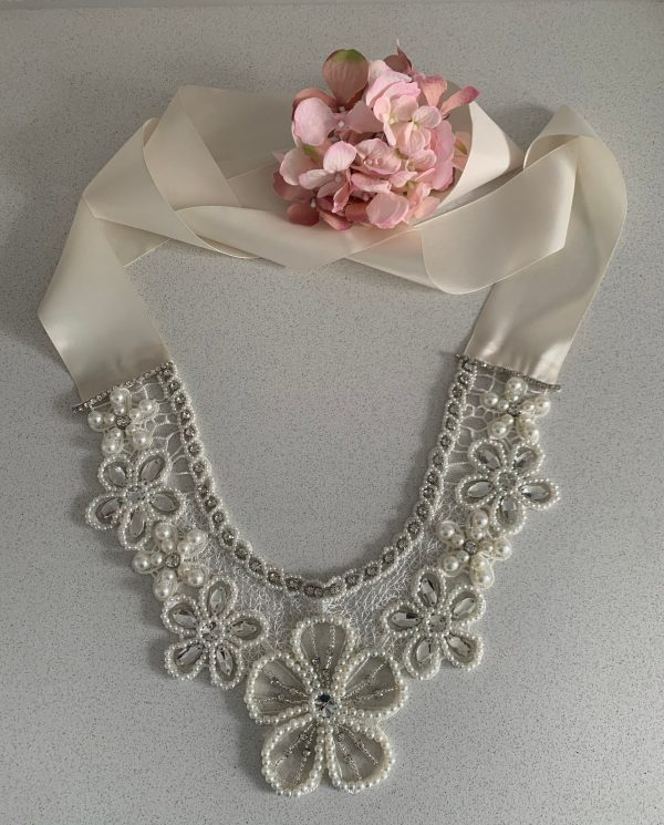 Couture Vintage Wedding Lace Pearl Rhinestone Crystal Flower Necklace Collar    Art Deco Epaulettes Shoulder Body Jewellery Shawl