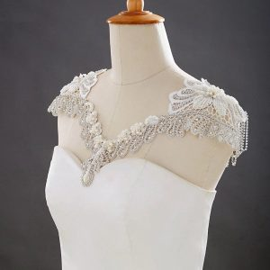 Couture Vintage Wedding Lace Pearl Rhinestone Crystal Necklace Collar| | Art Deco Epaulettes Shoulder Body Jewellery Shawl