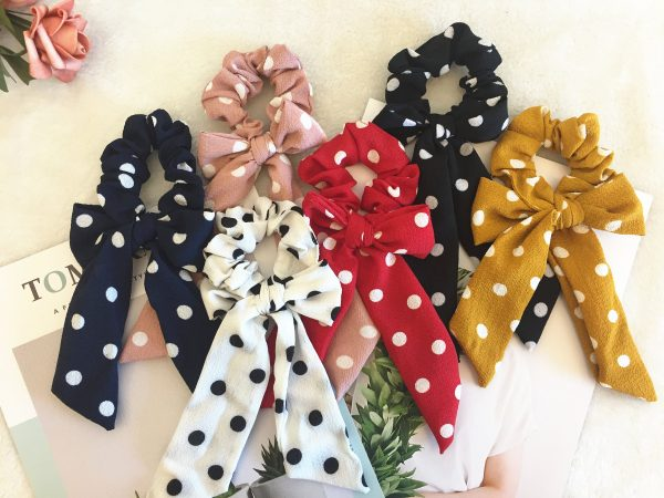 Cute Polka Dot Bow Scrunchies, Bridesmaid Gift, Hair Scarf, Wedding Part, Hair Ties, Hair Elastic, Hair Accessories, Mothers Day Gift, Gift For Her