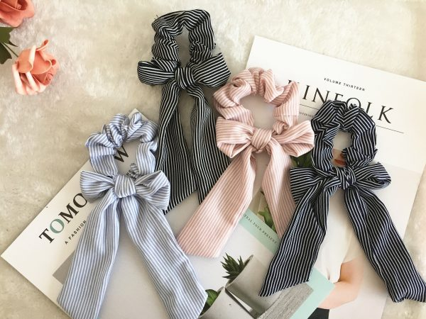 Cute Stripe Bow Scrunchies, Bridesmaid Gift, Hair Scarf, Wedding Part, Hair Ties, Hair Elastic, Hair Accessories, Mothers Day Gift, Gift For Her