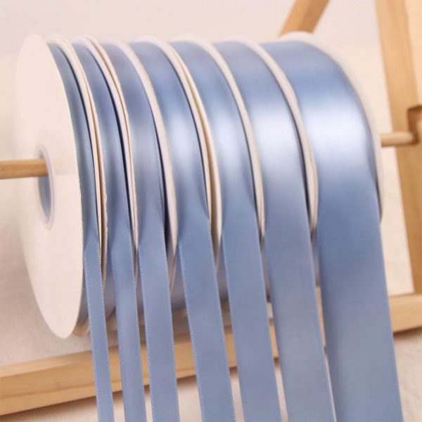 Dusty Blue Polyester Satin Ribbon Roll Wholesale • Christmas Gift Wrapping Wedding Party Favors Chair Decorations Tags