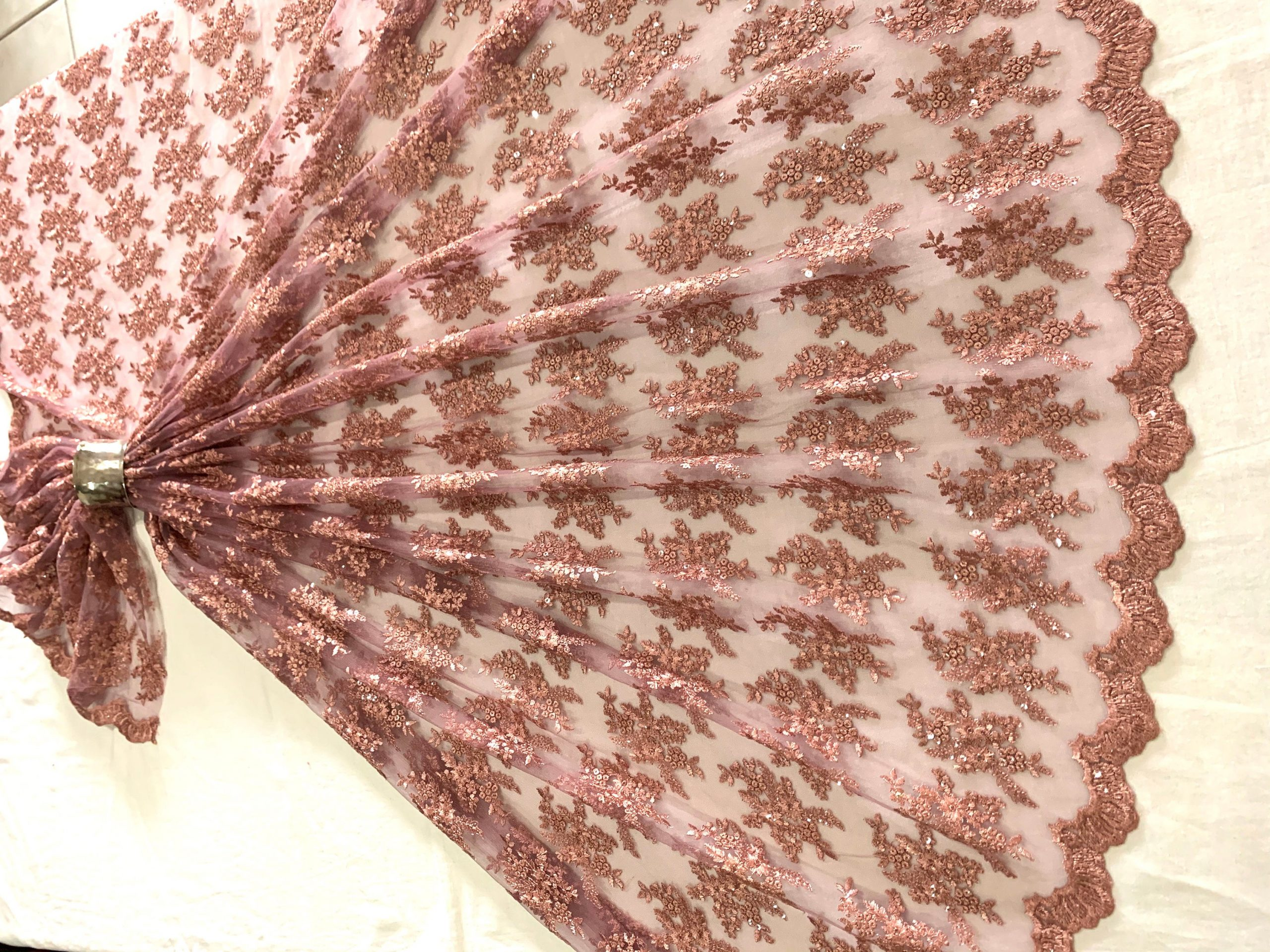 Dusty Pink Embroidered Tulle Fabric, Silken Thread Sequins Scallop Edged Material, Traditional Dress, Veil, Sewing Fabric