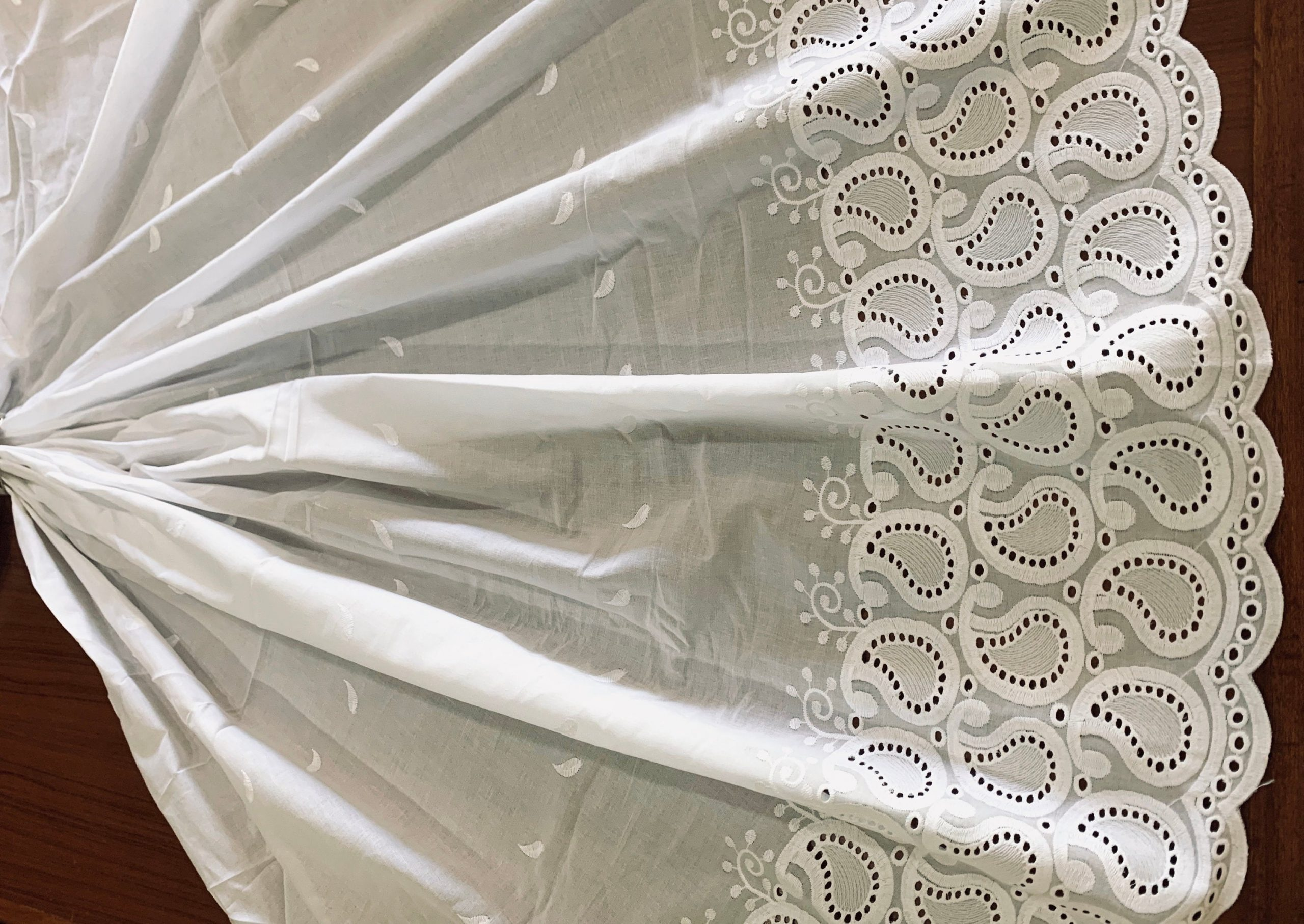 Embroidered Terry Cotton Fabric, White Lace Trim Scallop Edge Material, Traditional Dress Shawl Saree Scarf Zari Veil, Fashion Sewing Fabric