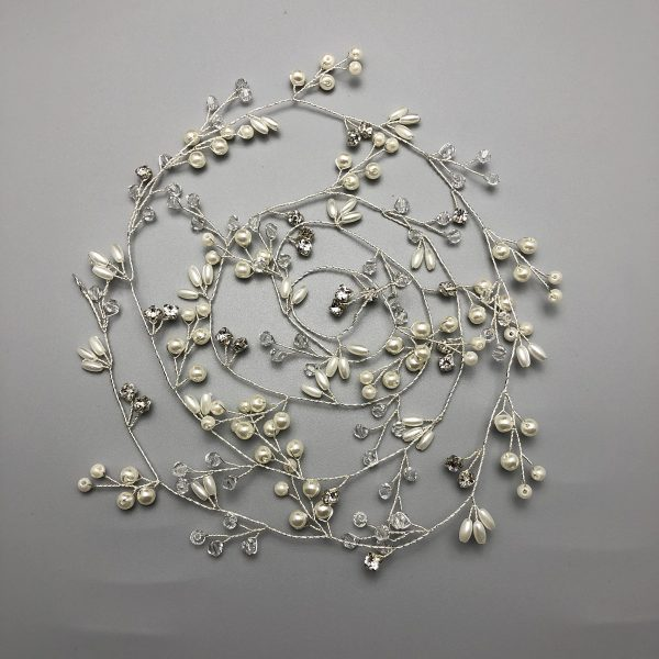 Everlasting Love - Couture Bridal Hair Accessories Rhinestones & Pearls Silver-Plated Extra Long Vine   Boho Wedding Head Piece