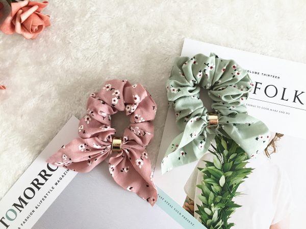 Floral Bunny Ear Scrunchies, Bridesmaid Gift, Hair Scarf, Wedding Part, Hair Ties, Hair Elastic, Hair Accessories, Mothers Day Gift, Gift For Her