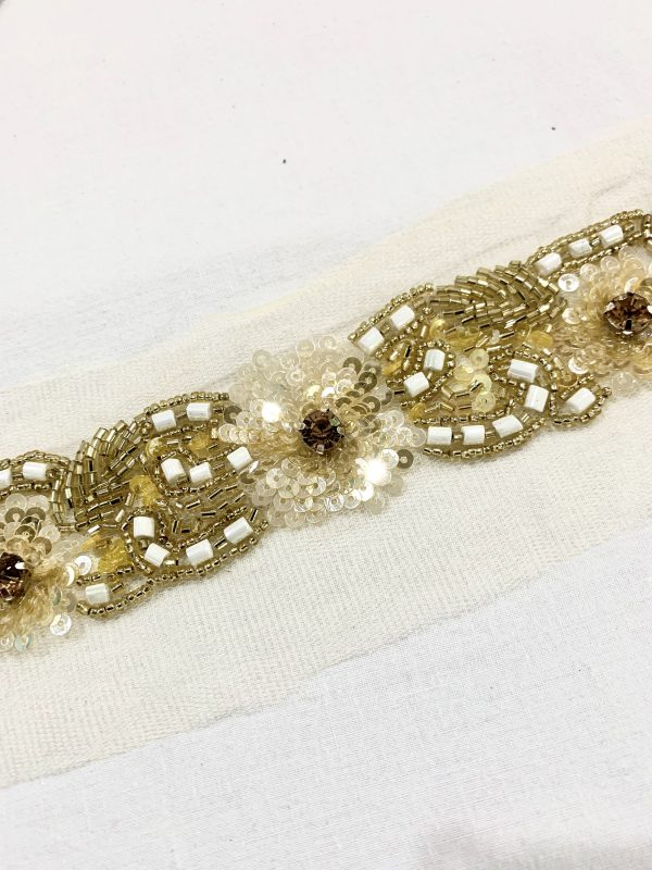 Gold Beaded Trim, Gold Hand Trim, Hand Embroidered Bridal Trim, Party Golden High Fashion Trim