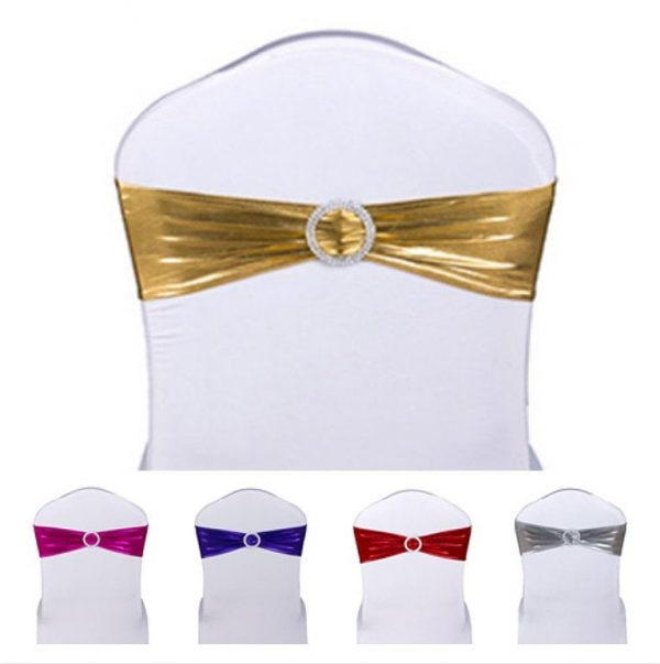 Gold Metallic Spandex Chair Bands With Buckle Wedding Ribbon Anniversary Birthday Party Decorations Silver Pink Blue Green