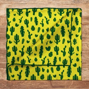 Green Cactus Pattern Silk Pocket Square Mens Wedding/100% Suit Yellow And