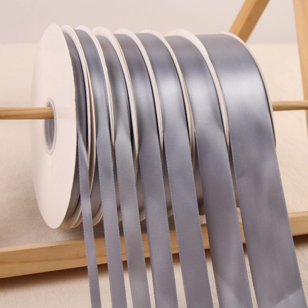 Grey Satin Ribbon Roll Wholesale • Christmas Gift Wrapping Wedding Party Favors Chair Decorations Tags Box Ribbons 20mm 10mm