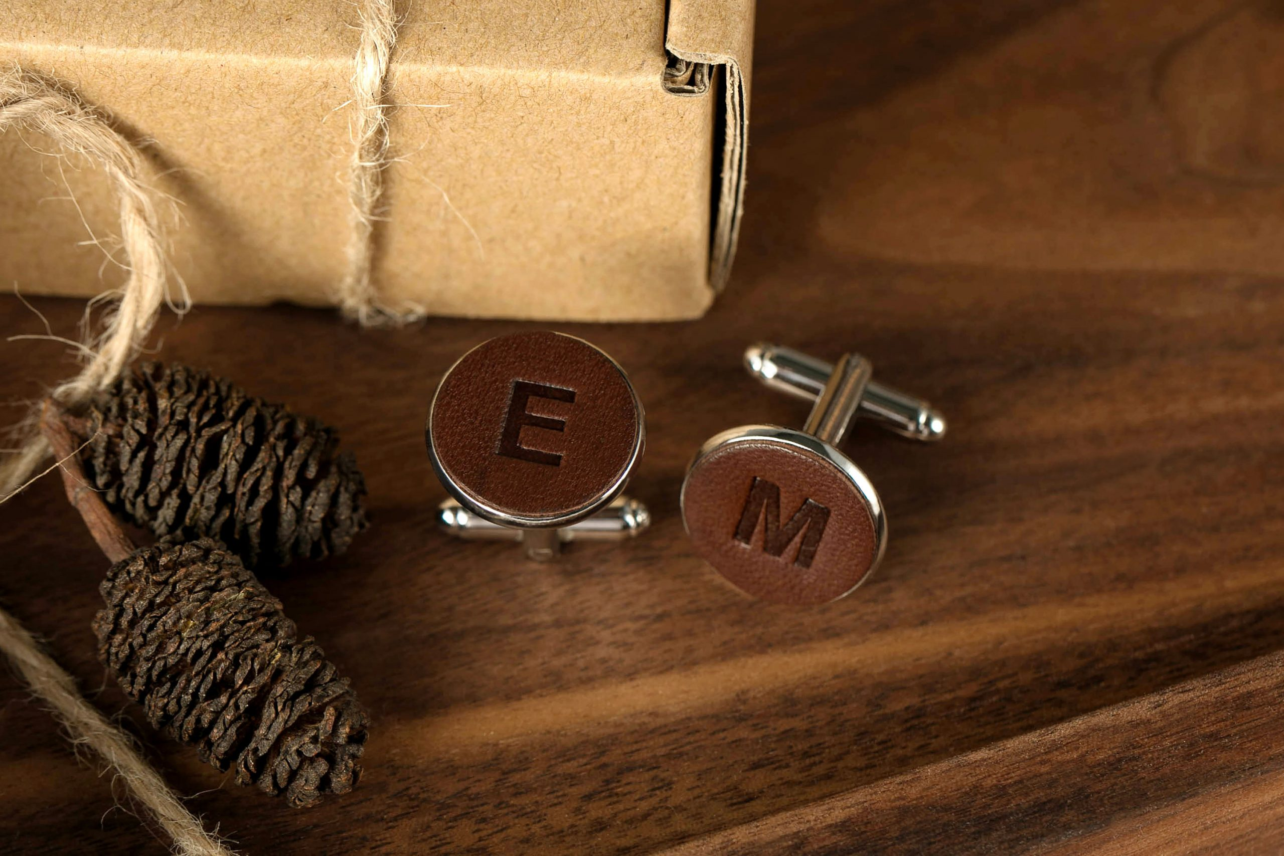 Groom Cufflinks - Initials Leather Personalized Wedding Cuff Links Monogram For 3rd Anniversary Gift Him