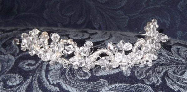 Handcrafted Glass Bead & Crystal Twisted Wire Tiara Headpiece, Available in Silver Of Gold