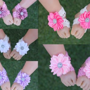 Handmade Baby Girl Barefoot Sandals Foot Flower Shoes Footwear Band Free Postage