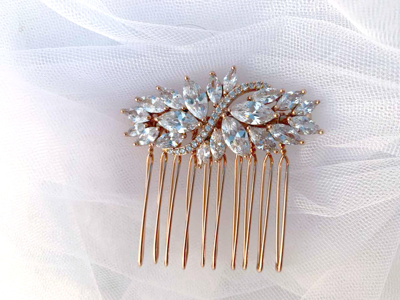 Infinity - Couture Bridal Hair Accessories Art Deco White Zircon & Rose Gold-Plated Wedding Simple Comb | Headpiece Piece