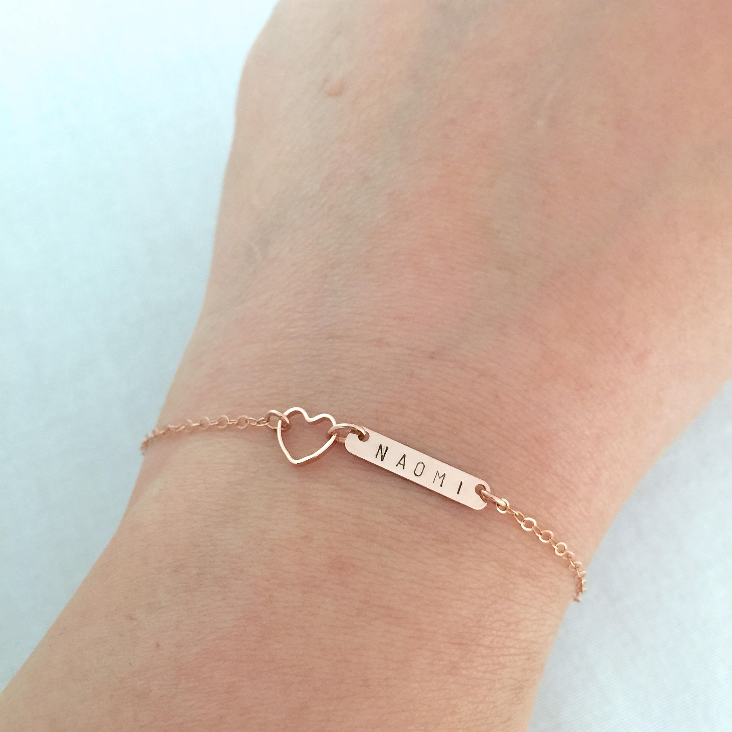 Little Girl Name Bracelet, Rose Gold Heart, Dainty Bar Bridesmaid Christening Gift, Maid Of Honor Wedding Jewelry