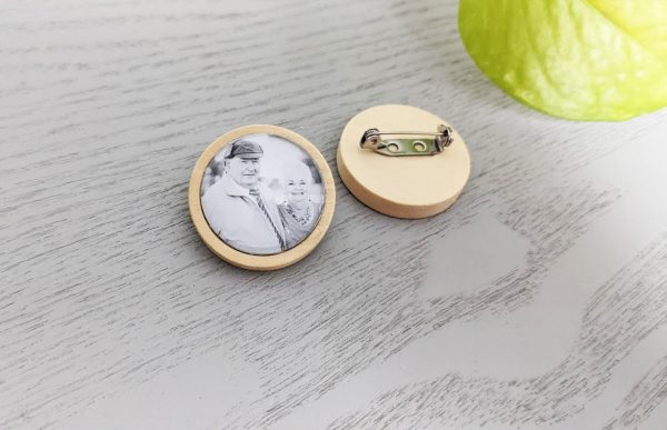 Natural Wood Boutonniere Charm Lapel Pin Memorial Photo Keepsake Tie Clip- With Your Own Photo - Rustic Shabby Chic Weddings