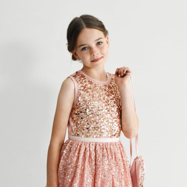 Ninel, Blush Pink Girl Wear Embroidered With Rose Gold Sequins, Flower Dress, Wedding Junior Gown, Festive Party Outfit Cute Bag