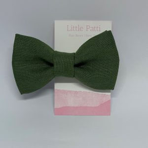 Olive Green 100% Linen Children's Clip On Bow Tie, Kid's Ties, Linen, Fabric Kids Fashion, Accessories