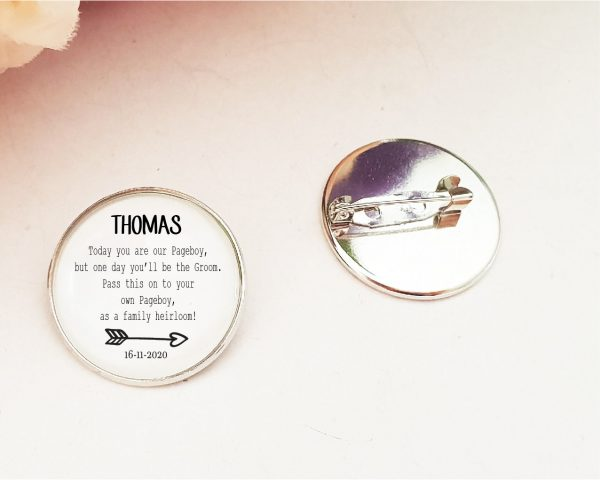 Page Boy Bride Badge Gift Momento Family Heirloom Lapel Something Old Wedding Favour Personalised Name & Date
