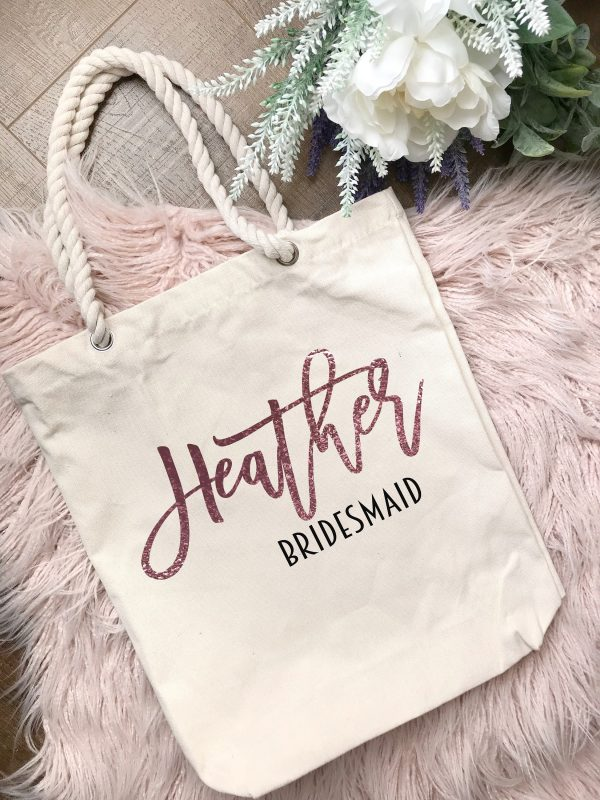 Personalised Premium Cotton Canvas Tote Bag With Rope Handles/Bridesmaids, Flower Girls, Maid Of Honortotes/Bridal Showers/Wedding Gifts