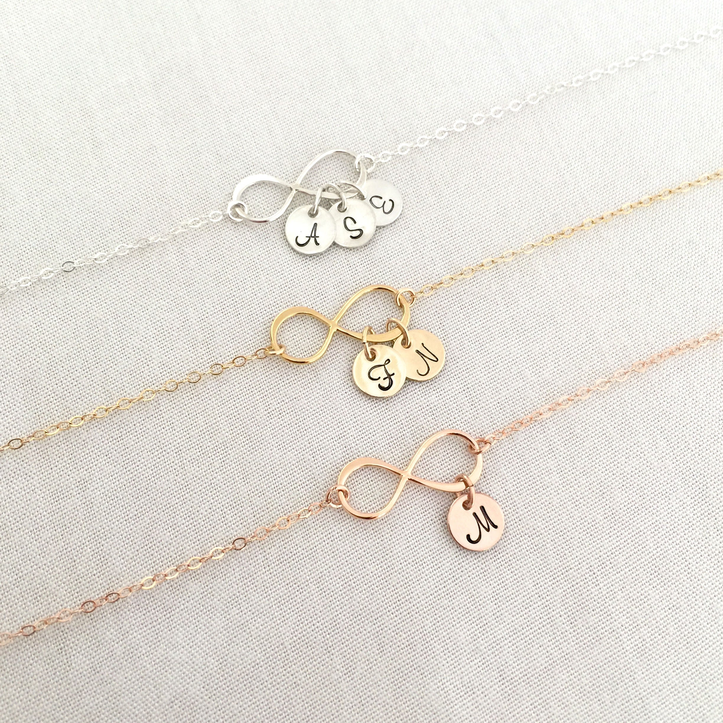 Personalized Infinity Bracelet, Bridesmaid Sister Mother Friendship Wedding Jewelry, Rose Gold
