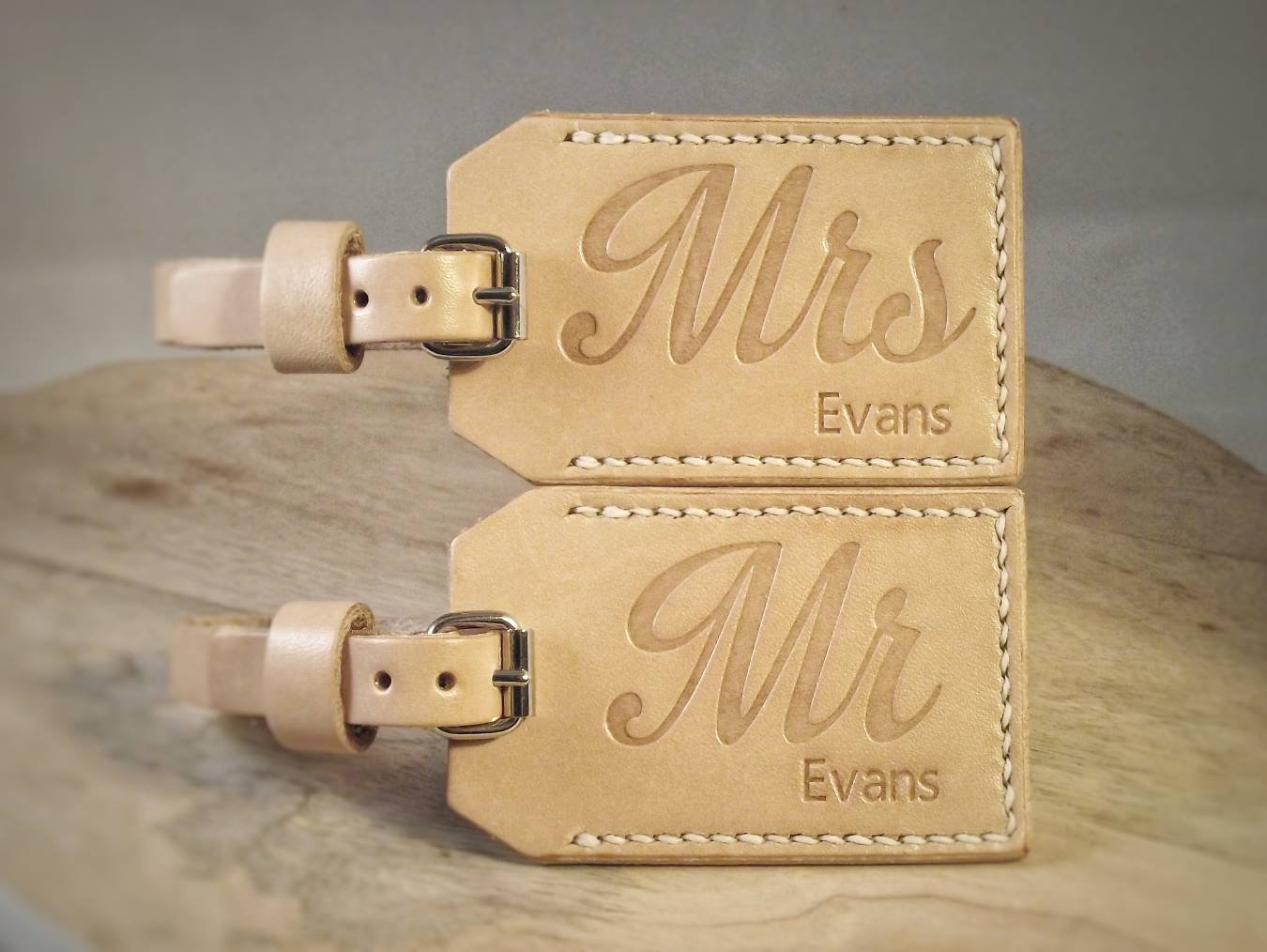 Personalized Leather Luggage Tag Mr & Mrs, Premium Bag For Wedding Gift, Anniversary 3rd Or Honeymoon
