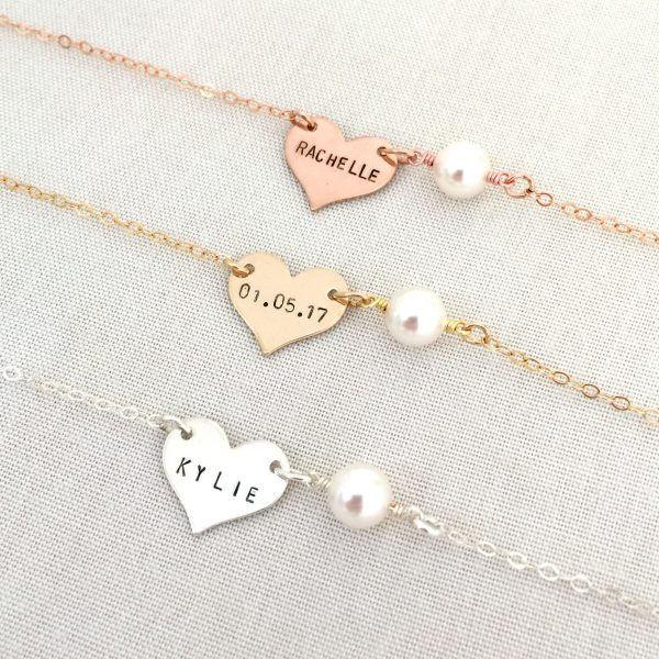 Personalized Pearl Heart Bracelet, Baby Bridesmaid Flower Girl Maid Of Honor Gift, Wedding Jewelry