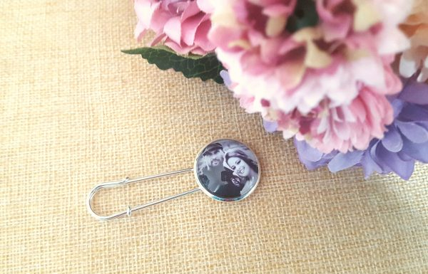 Photo Bouquet Charm in Pin - Memorial Bridal Pendant Brooch Weddings Photo Lapel, Bride, Gift, Walk With Me, Miss You, Big Day