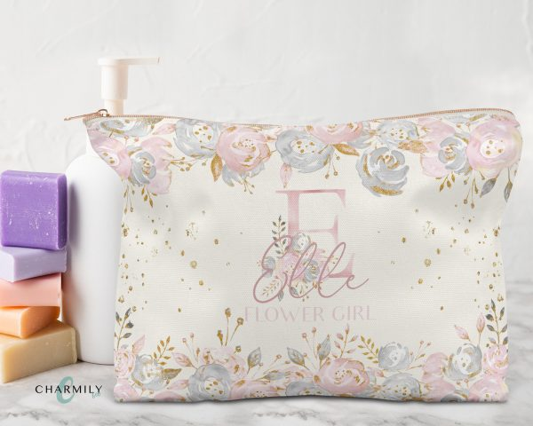 Pretty in Pink | Bridal Party Wedding Storage Pouch Pencil Case Cosmetic Bag Travel Rose Gold, Gold Or Silver Zip