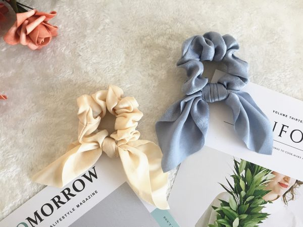 Pure Color Bunny Ear Scrunchies, Bridesmaid Gift, Hair Scarf, Wedding Part, Hair Tie, Hair Elastic, Hair Accessories, Mothers Day Gift, Gift For Her