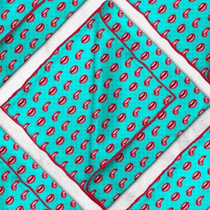 Red Lips Green Silk Pocket Square Pattern Mens Wedding/100% Suit Fashion Fabric