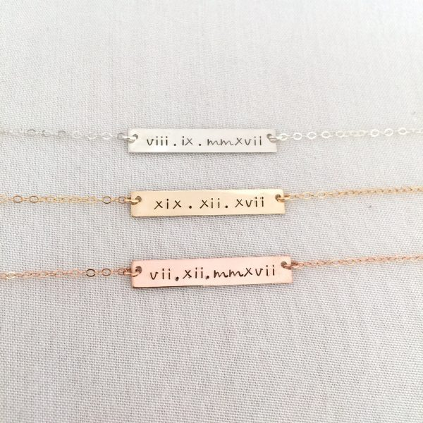 Roman Numeral Bar Necklace, Wedding Date Anniversary Gift, Bridesmaid Gift For Her, Birthday