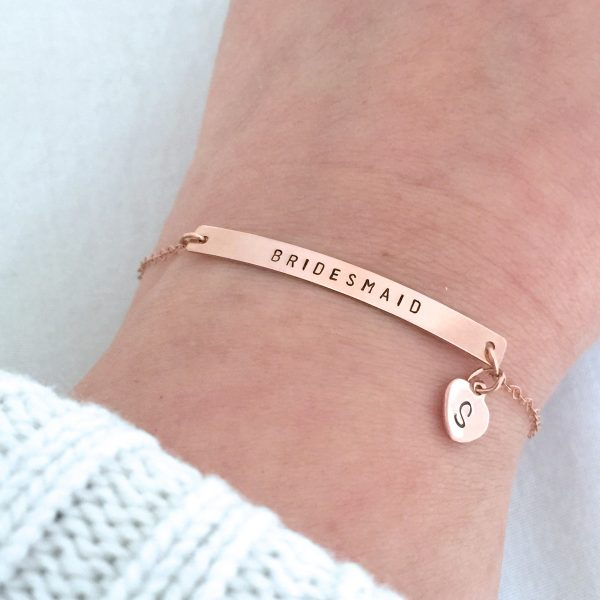 Rose Gold Bridesmaid Bracelet, Mother Of The Bride Gift, Groom Jewelry, Personalised Bar Wedding Bridal