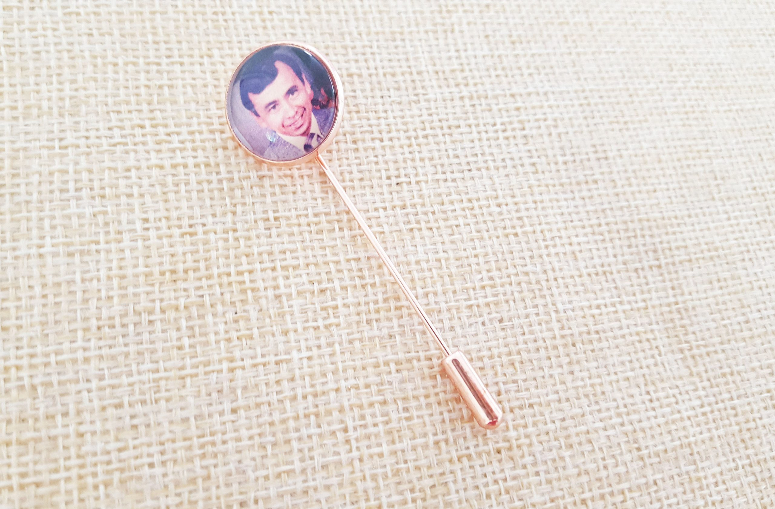 Rose Gold, Gold Or Silver Boutonniere Charm Lapel Pin Memorial Photo Keepsake - Customised With Your Own Photo
