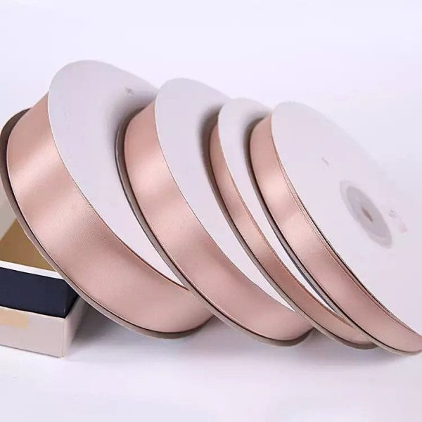 Rose Gold Satin Ribbon Roll Wholesale • Christmas Gift Wrapping Wedding Party Favors Chair Decorations Tags Box Ribbons
