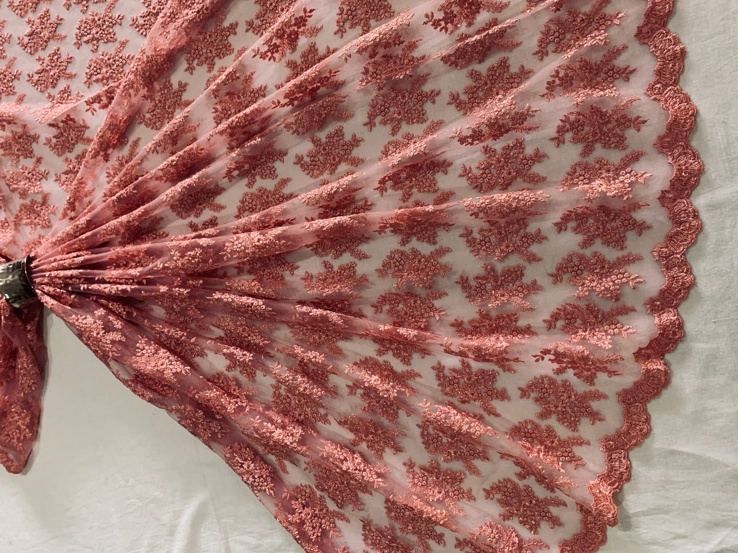 Rose Pink Embroidered Tulle Fabric, Silken Thread Sequins Scallop Edged Material, Traditional Dress , Veil, Sewing Fabric