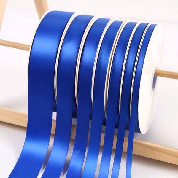Royal Blue Satin Ribbon Roll Wholesale • Christmas Gift Wrapping Wedding Party Favors Chair Decorations Tags Box Ribbons